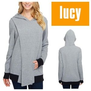 LUCY Keep Calm Pullover Wrap Split Front Hoodie